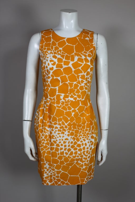 1990's YSL Yves Saint Laurent Giraffe Print Shift Dress image 3