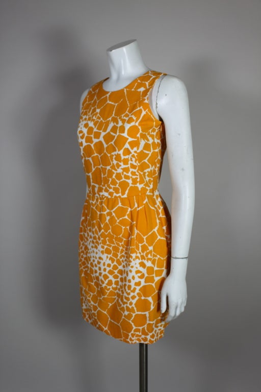 1990's YSL Yves Saint Laurent Giraffe Print Shift Dress image 4