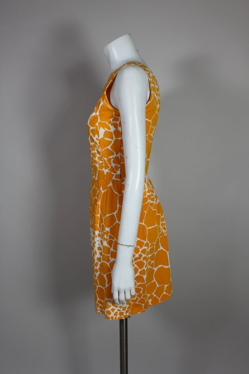 1990's YSL Yves Saint Laurent Giraffe Print Shift Dress image 5