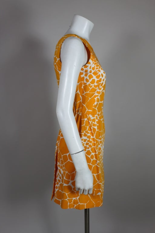 1990's YSL Yves Saint Laurent Giraffe Print Shift Dress image 6
