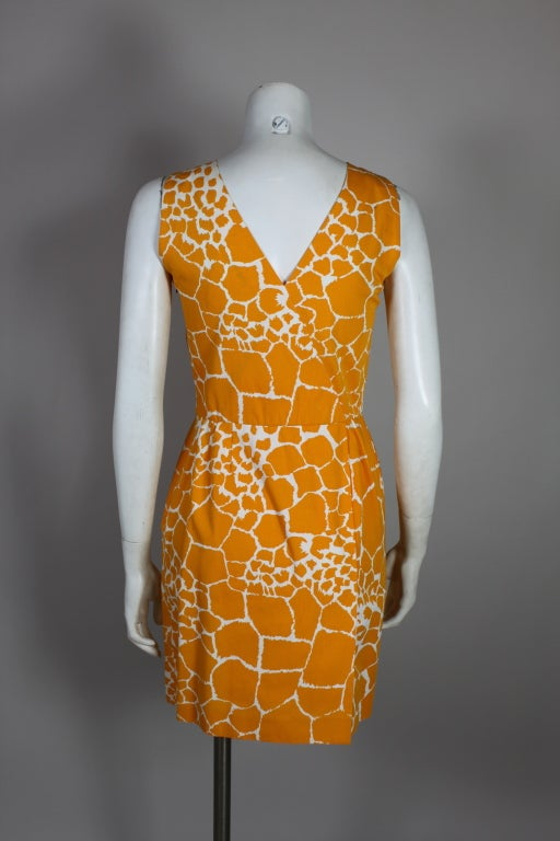 1990's YSL Yves Saint Laurent Giraffe Print Shift Dress image 7