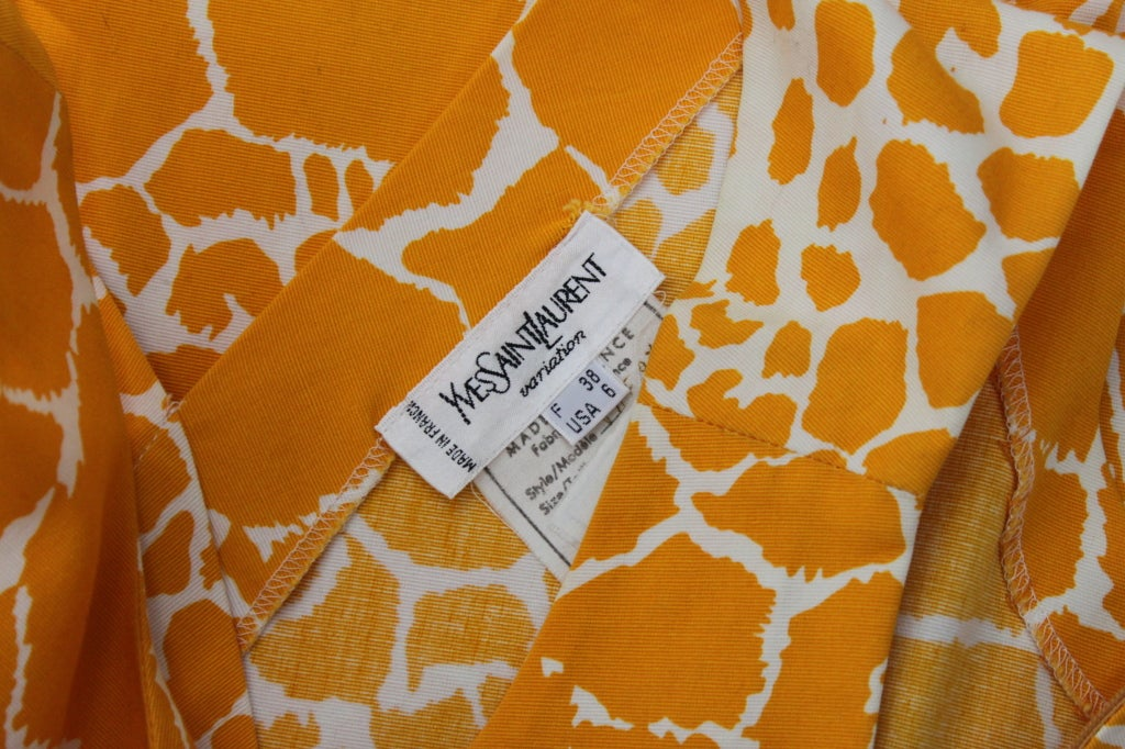 1990's YSL Yves Saint Laurent Giraffe Print Shift Dress image 8