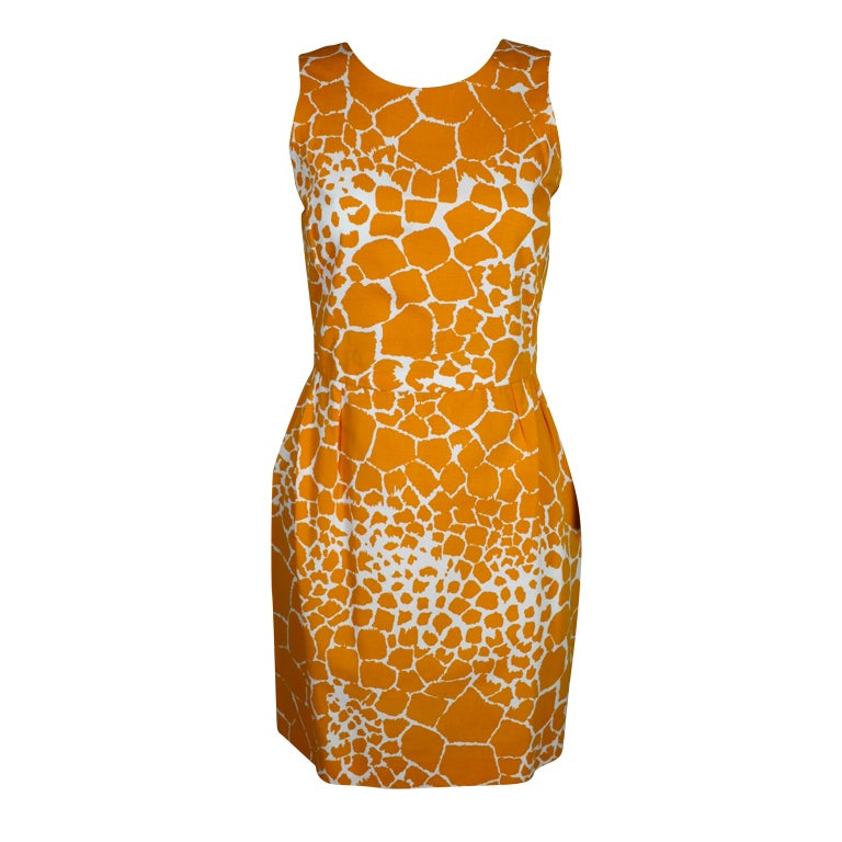 1990's YSL Yves Saint Laurent Giraffe Print Shift Dress