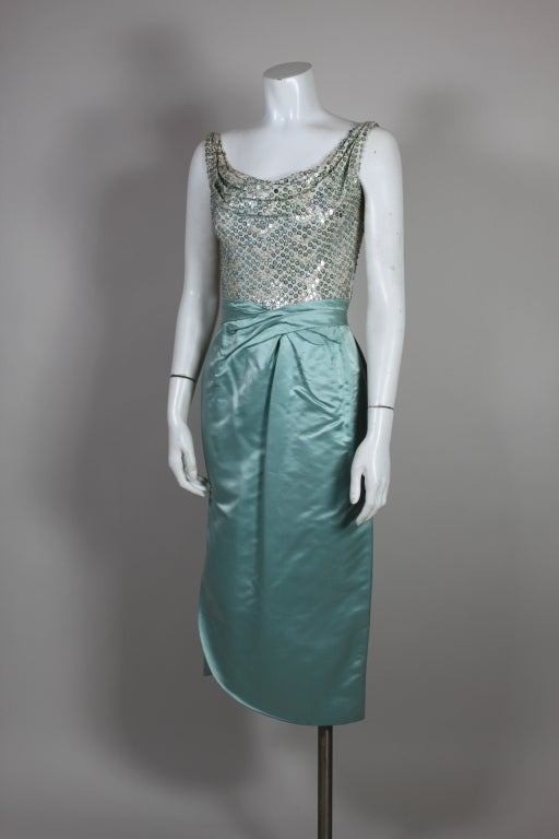 1950s Ceil Chapman Sequined Ice Blue Satin Dress For Sale