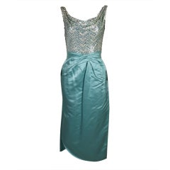 1950s Ceil Chapman Sequined Ice Blue Satin Dress