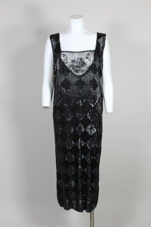 1920's Jet Black Beaded Harlequin Flapper Dress 2