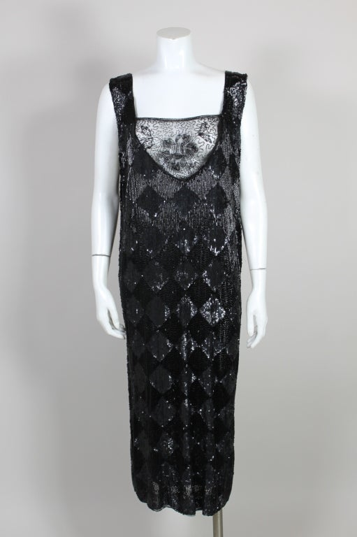 1920's Jet Black Beaded Harlequin Flapper Dress 3