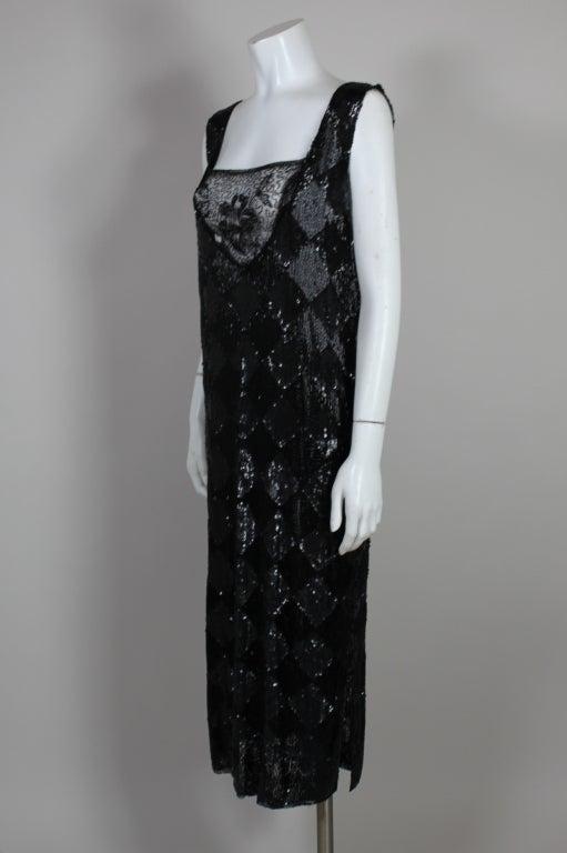 1920's Jet Black Beaded Harlequin Flapper Dress 4