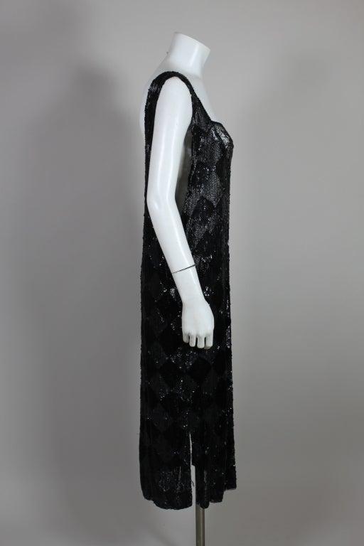 1920's Jet Black Beaded Harlequin Flapper Dress 5