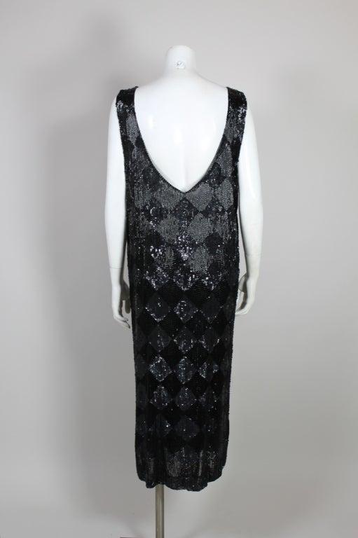 1920's Jet Black Beaded Harlequin Flapper Dress 6