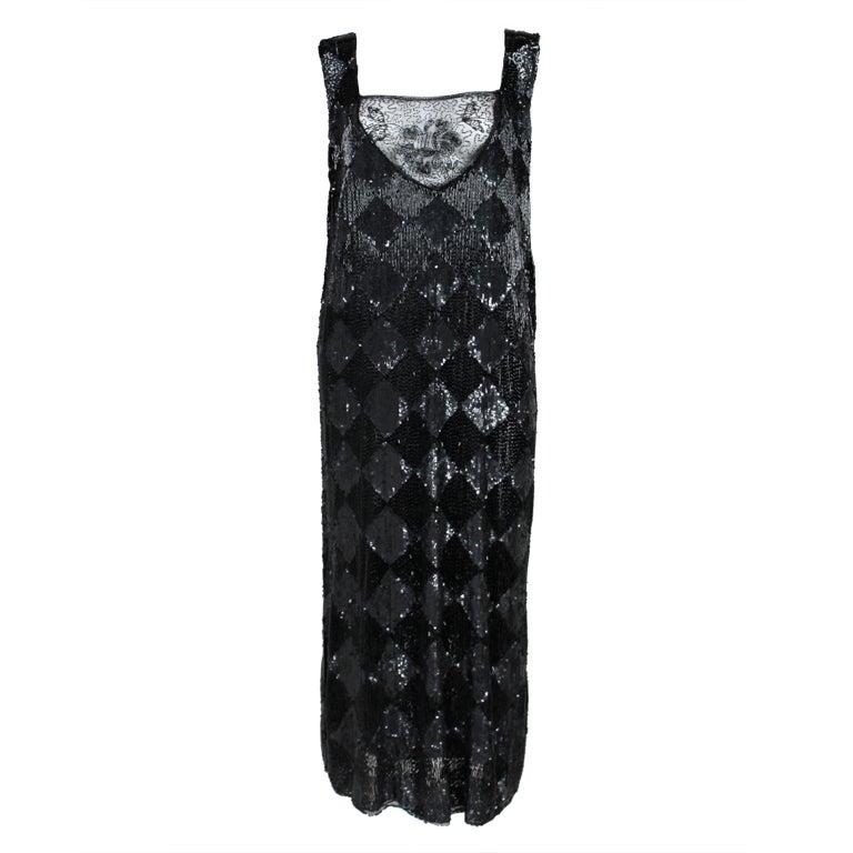 1920's Jet Black Beaded Harlequin Flapper Dress 1