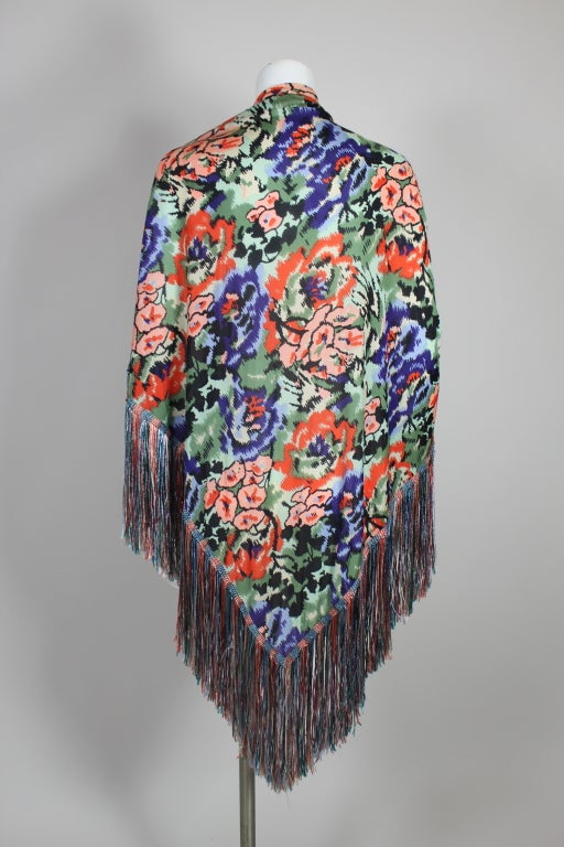 Missoni Floral Print Silk Jersey Shawl with Multi-Colored Fringe image 2