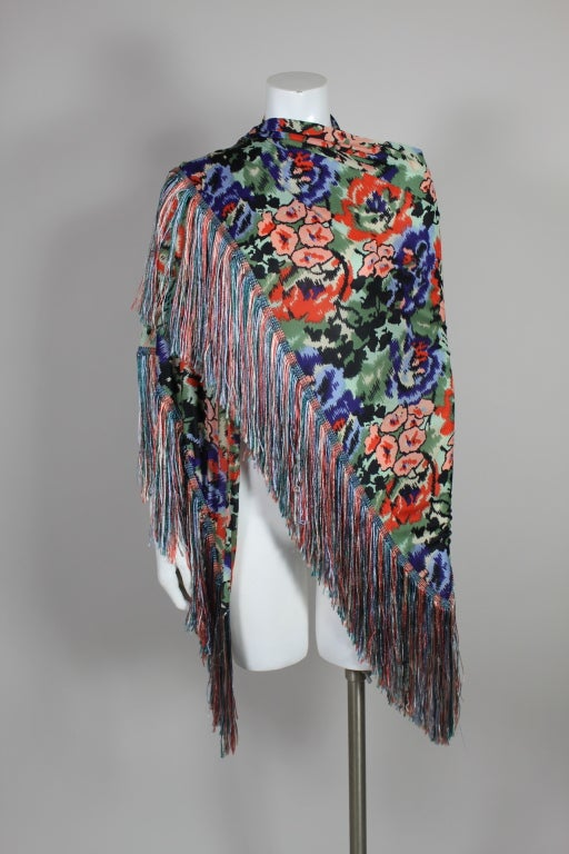 Missoni Floral Print Silk Jersey Shawl with Multi-Colored Fringe image 3