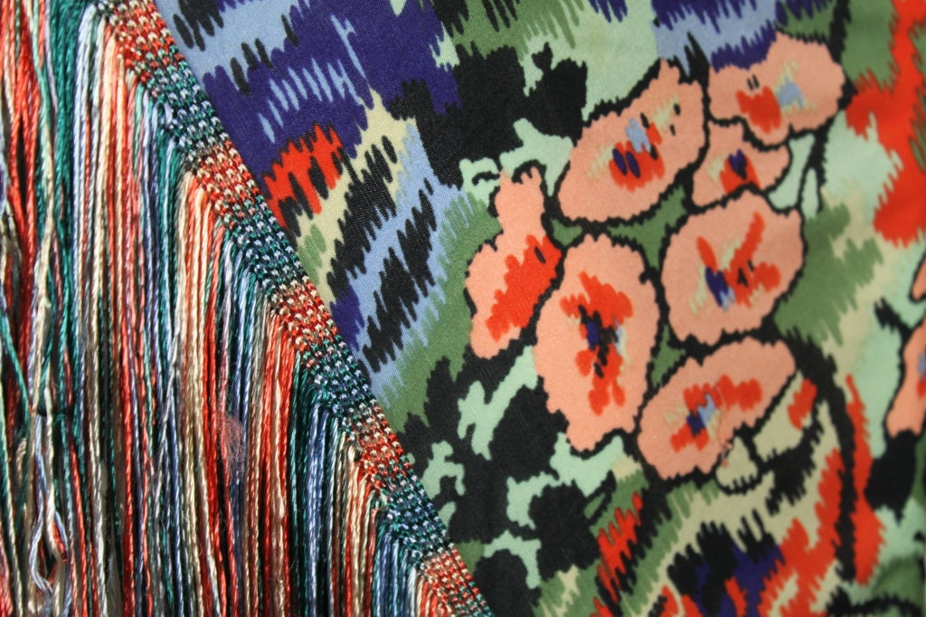 Missoni Floral Print Silk Jersey Shawl with Multi-Colored Fringe image 4