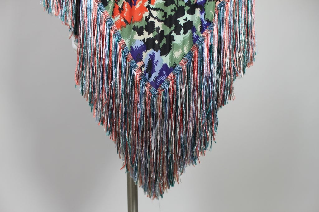 Missoni Floral Print Silk Jersey Shawl with Multi-Colored Fringe image 5