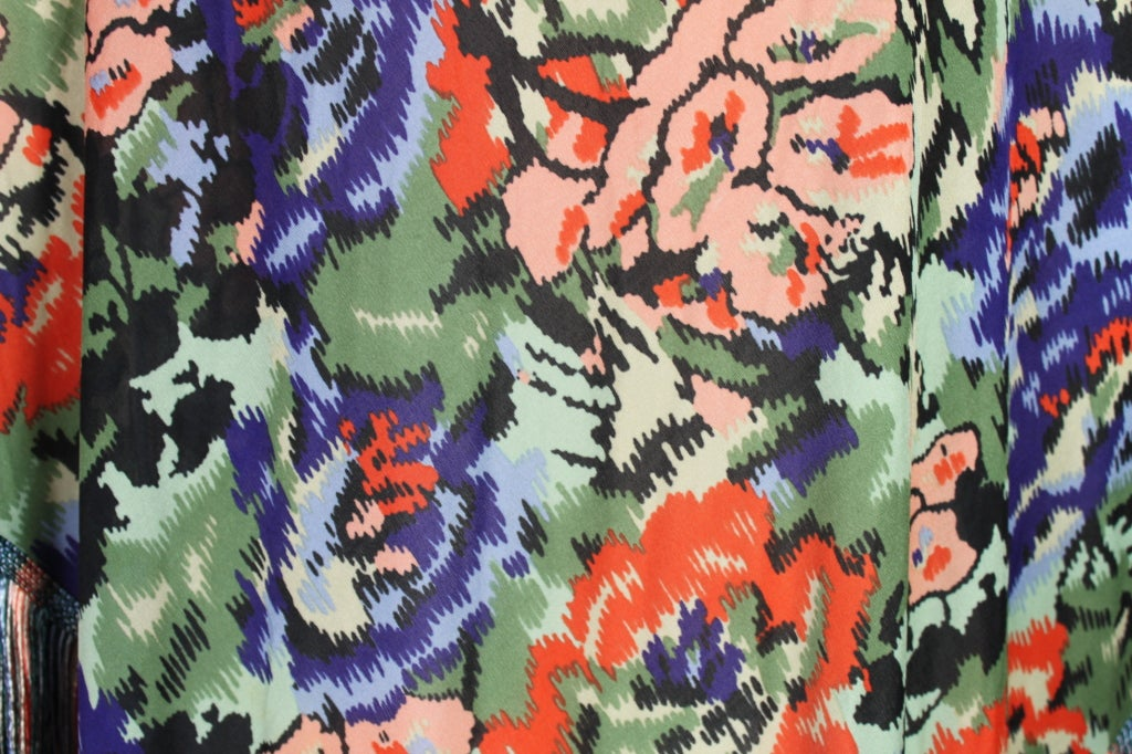 Missoni Floral Print Silk Jersey Shawl with Multi-Colored Fringe image 6
