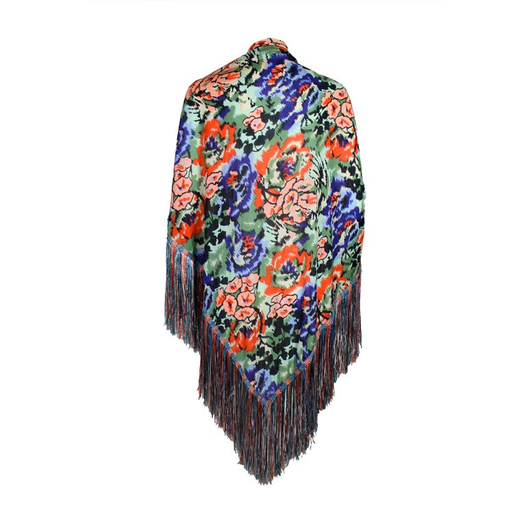 Missoni Floral Print Silk Jersey Shawl with Multi-Colored Fringe