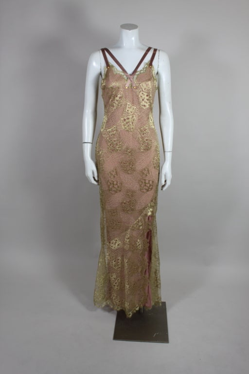 1990's Dior Gilded Old Hollywood Metallic Lace Evening Gown NEW/OLD 2