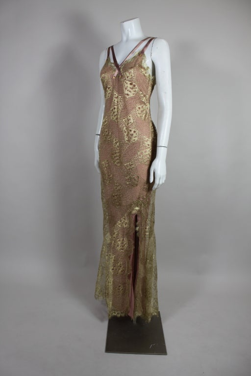 1990's Dior Gilded Old Hollywood Metallic Lace Evening Gown NEW/OLD 3