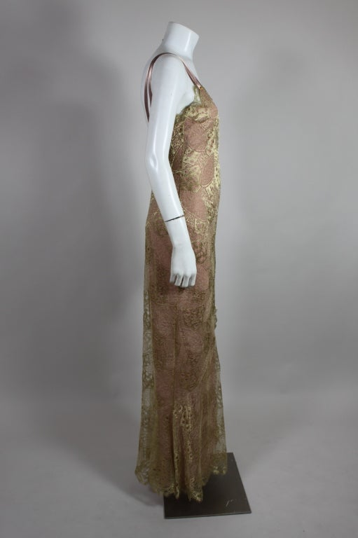 1990's Dior Gilded Old Hollywood Metallic Lace Evening Gown NEW/OLD 4