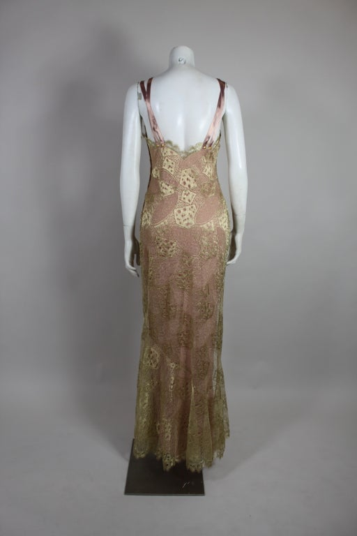 1990's Dior Gilded Old Hollywood Metallic Lace Evening Gown NEW/OLD 5