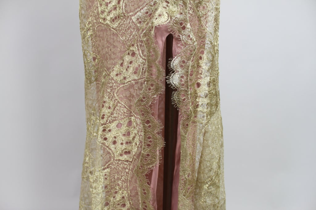 1990's Dior Gilded Old Hollywood Metallic Lace Evening Gown NEW/OLD 8