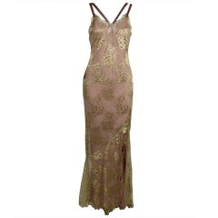 1990's Dior Gilded Old Hollywood Metallic Lace Evening Gown NEW/OLD