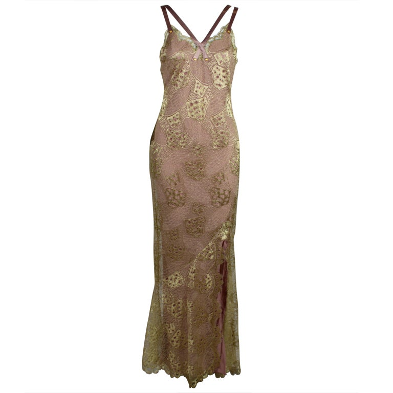 1990's Dior Gilded Old Hollywood Metallic Lace Evening Gown NEW/OLD 1