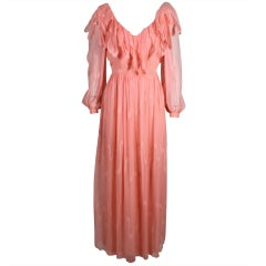 1970's Jean Louis Peach Chiffon Gown with Ruffled Collar
