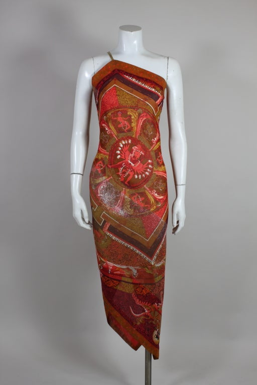 Gianfranco Ferre Shiva Print Silk Dress with Wrap 2