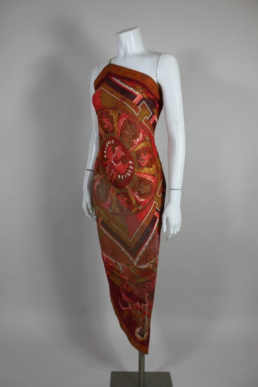 Gianfranco Ferre Shiva Print Silk Dress with Wrap 3