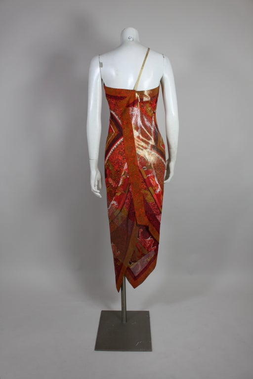 Gianfranco Ferre Shiva Print Silk Dress with Wrap 4