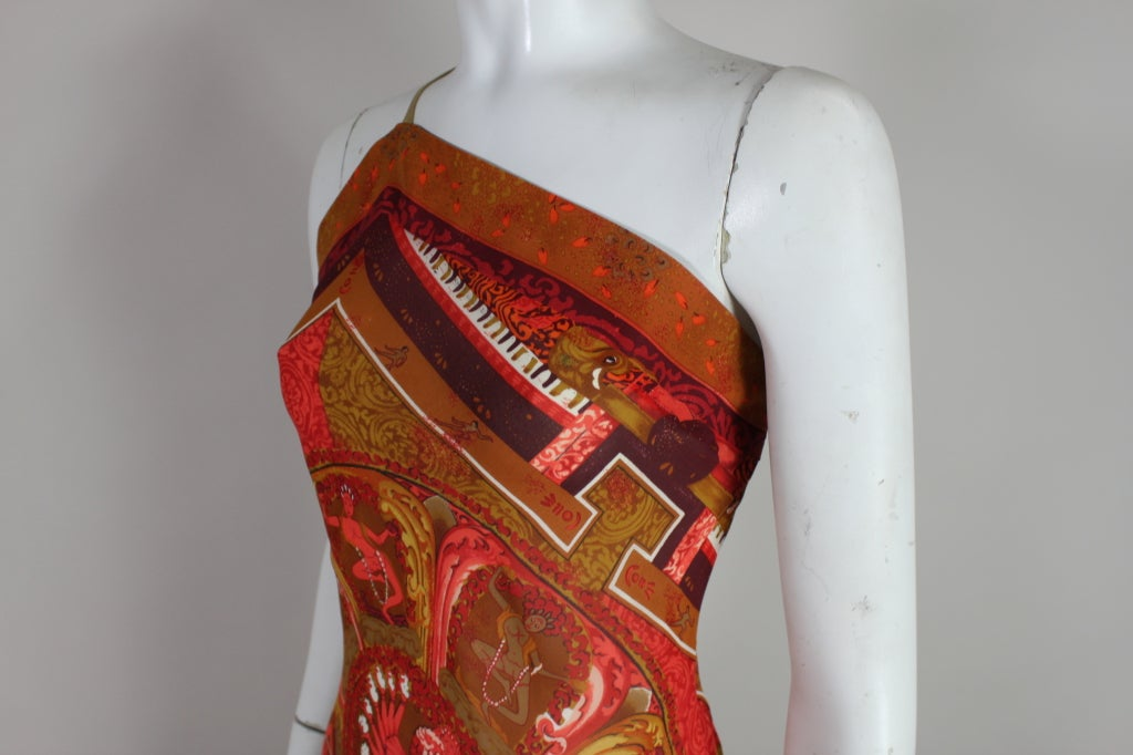 Gianfranco Ferre Shiva Print Silk Dress with Wrap 5