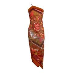 Gianfranco Ferre Shiva Print Silk Dress with Wrap