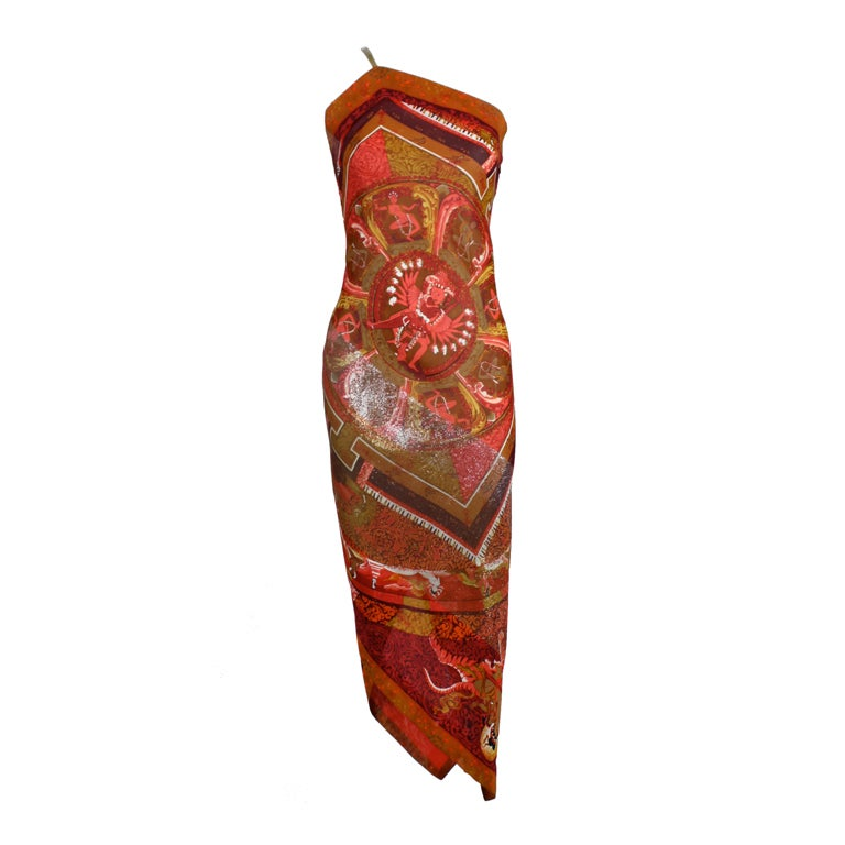 Gianfranco Ferre Shiva Print Silk Dress with Wrap 1