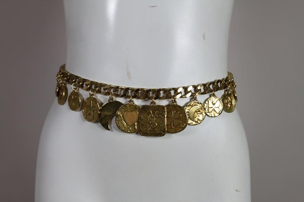 1980's YSL Yves Saint Laurent Gold Chain Charm Belt image 3