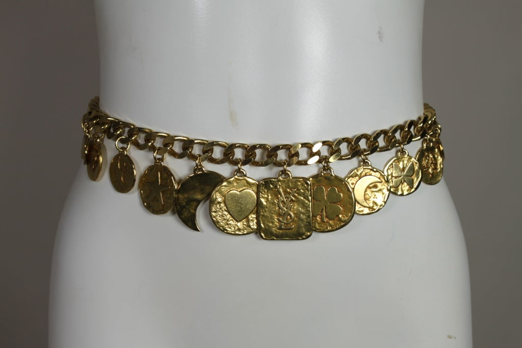 1980's YSL Yves Saint Laurent Gold Chain Charm Belt image 4