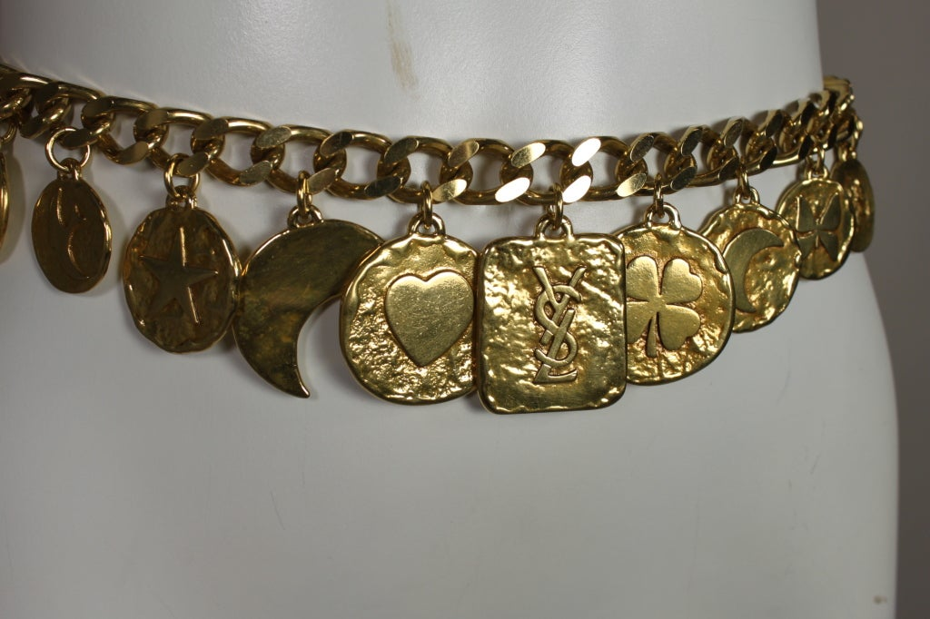 1980's YSL Yves Saint Laurent Gold Chain Charm Belt image 5