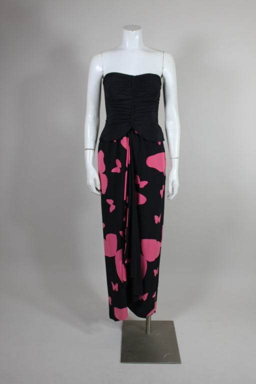 Valentino Butterfly Print Silk Evening Gown At 1stdibs