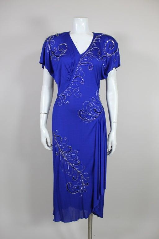 Valentino 1940's Inspired Sapphire Blue Beaded Jersey Dress 2