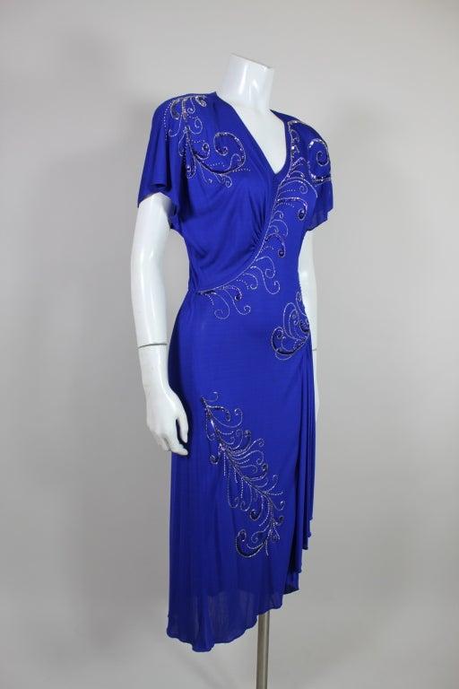 Valentino 1940's Inspired Sapphire Blue Beaded Jersey Dress 3
