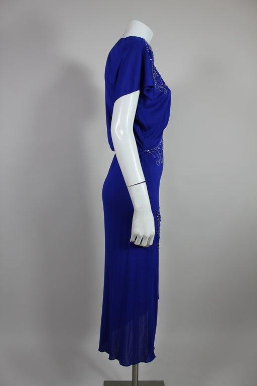 Valentino 1940's Inspired Sapphire Blue Beaded Jersey Dress 4