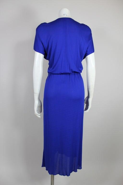 Valentino 1940's Inspired Sapphire Blue Beaded Jersey Dress 5