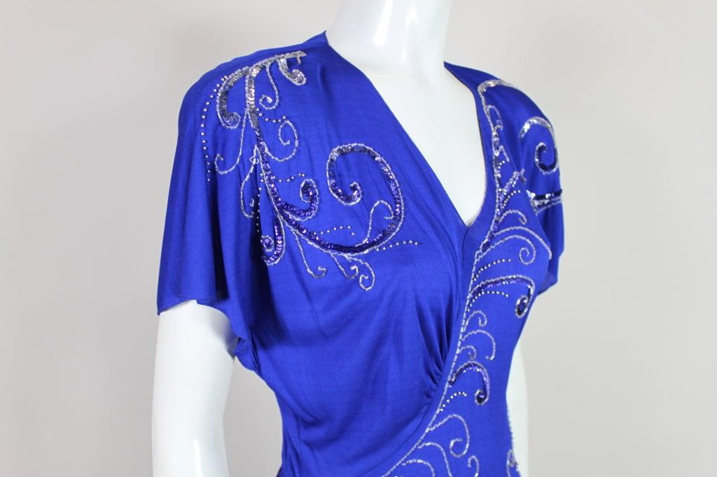 Valentino 1940's Inspired Sapphire Blue Beaded Jersey Dress 6