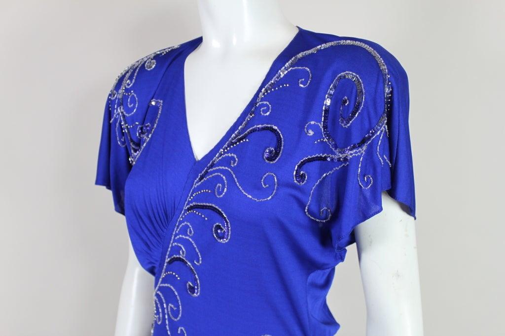 Valentino 1940's Inspired Sapphire Blue Beaded Jersey Dress 7