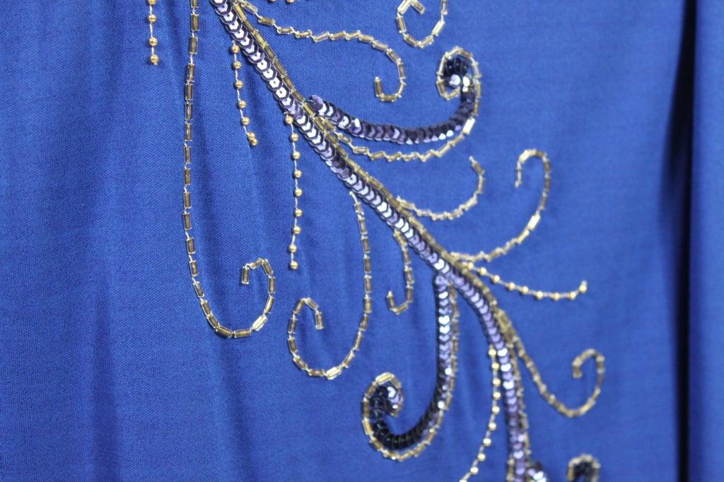 Valentino 1940's Inspired Sapphire Blue Beaded Jersey Dress 8