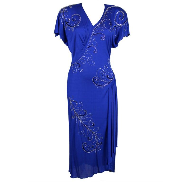 Valentino 1940's Inspired Sapphire Blue Beaded Jersey Dress 1