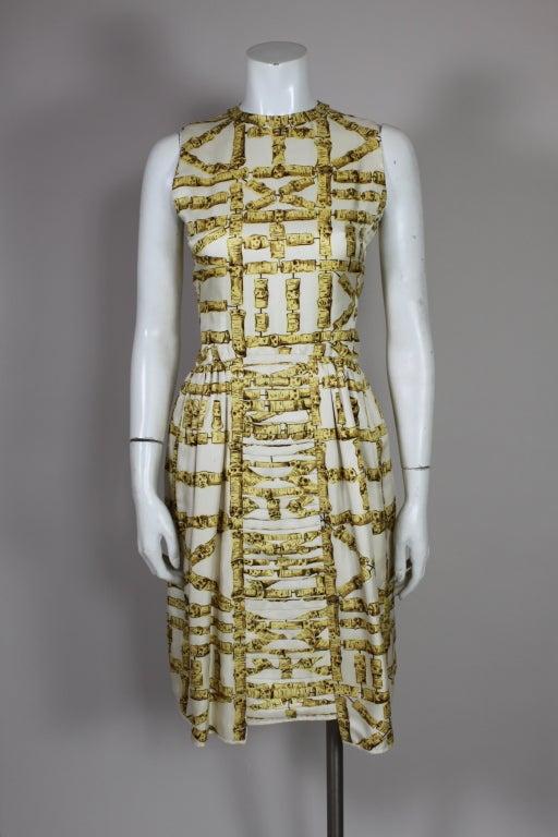 1960's Donald Brooks Bamboo Print Silk Dress with Jacket 2