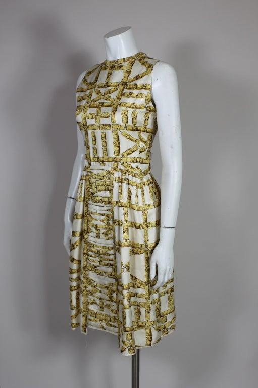 1960's Donald Brooks Bamboo Print Silk Dress with Jacket 3