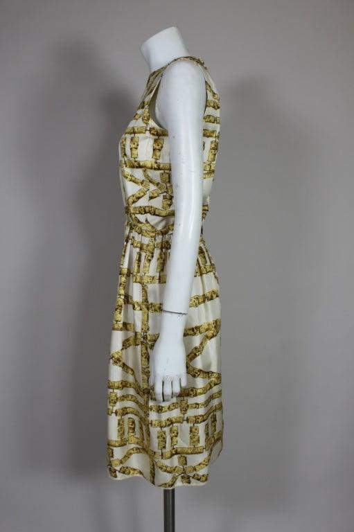 1960's Donald Brooks Bamboo Print Silk Dress with Jacket 4